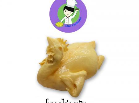 ไก่ปลอมหรือไก่เรซิน ขนาด 3 โล รุ่นคอพับ เป็นรุ่นที่ขายดีที่สุด เหมาะสำหรับร้านข้าวมันไก่